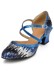 Non Customizable Women's Dance Shoes Latin Flocking Low Heel Blue