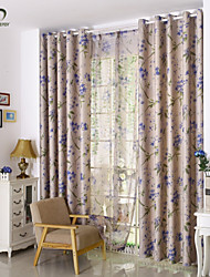 Country Curtains® One Panel Beige Leaf Printing Blackout Curtain