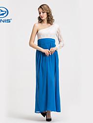 sexy lace um maxi vestido de ombro fenda lateral longo canis @ senhora