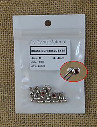 20PCS M Size Red Brass Dumbbell Eyes Fly Tying Material 4mm