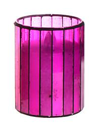 Zuhause Eindrücke ™ 3 * 4 Zoll Amaranth vertikale Streifen Mosaikglas flammenlose geführte Kerze mit Timer, arbeiten mit 2 AA-Batterie