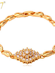 U7® Women's Luxury Zircon Jewelry Fashion 18K Real Gold Plated Trendy Women's Gift Cubic Zirconia Chunky Charm Bracelet