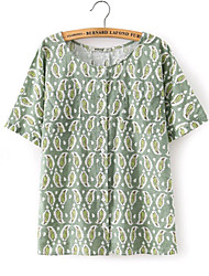 Women's New Fashion Vintage/Print Inelastic Short Sleeve Regular Blouse (Cotton/Linen)