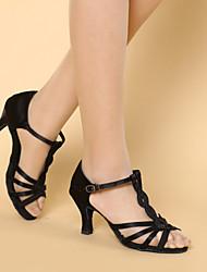 """Disponibile """"su misura"""" Donna Scarpe da ballo Latinoamericano Satin Customized Heel Nero/Marrone"""