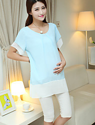 Maternity Casual Double Layer Sleeve Chiffon Long Blouse