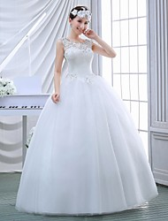 Ball Gown Wedding Dress - White Floor-length Jewel Lace
