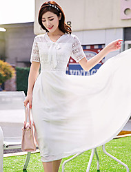 Women's White Dress , Casual Bow Short Sleeve