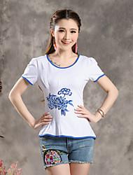 Ronde hals - Katoen - Geborduurd/Bloem - Vrouwen - T-shirt - Korte mouw