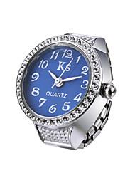 Creative Sparkle Diamond Fashion Lady Girl Steel Round Elastic Quartz Finger Ring watch women