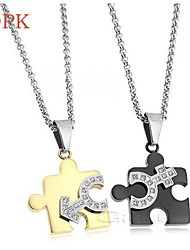 OPK®(2PC) Fashion Sex Symbol Set Auger Puzzles 18 K Rose Gold Plating Lovers Necklace High Quality Love Gift