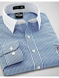 U&Shark New Hot! Men's British Style Navy Printing Long Sleeve Shirt with Blue and White Strips /CHD006