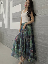 Women's Multi-color Skirts , Sexy/Beach/Casual/Print/Party/Maxi Maxi