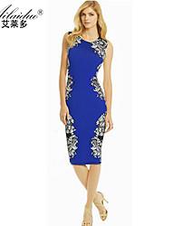 women's round neck Sleeveless floral-print sllim pencil skirt(Polyester)