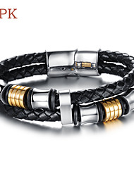 OPK®Cool Rock Character 18 K Gold Titanium Steel Magnetic Clasp Double Leather Woven Men's Bracelet