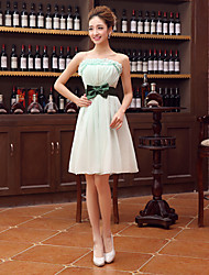 Short/Mini Velet Chiffon Bridesmaid Dress - Sage Sheath/Column Strapless