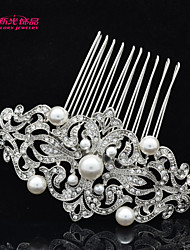 Neoglory Jewelry Imitation Pearl and Clear Rhinestone Flower Bridal Wedding Hair Comb Tiara