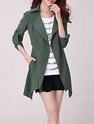 Women's plus size Girls Trench Coat Cotton Blends