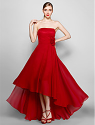 TS Couture® Formal Evening Dress Plus Size / Petite A-line Strapless Asymmetrical Chiffon with Flower(s)