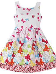 Girls  Butterfly Print Sundress Party Birthday Fashion Children Clothing Princess Dresses (100% Cotton)