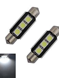 1W Festoon Lampe de Décoration 3 SMD 5050 60-70lm lm Blanc Froid DC 12 V 2 pièces