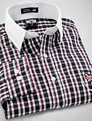 U&Shark New Hot! Men's British Style Navy Printing Long Sleeve Shirt with  Purple and White Check &Grain /CHD009