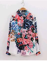 Women's Sweet Casual/Print Inelastic Long Sleeve Regular Top Shirt Blouse (Chiffon)