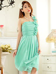 Knee-length Chiffon / Polyester Bridesmaid Dress Sheath / Column One Shoulder with Ruching