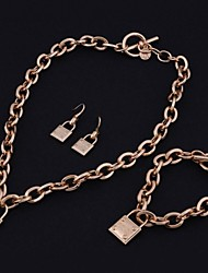 Delicate Key Shape Set Drill Necklace Set(with Earrings and Bracelet)