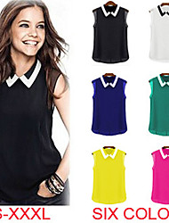 Haocare Casual Candy Color Turn-down Collar Fashion Sleeveless Women Chiffon Blouses Shirts