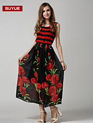 vestido maxi de impresión suyue® nuevas mujeres de la manera clásica de la vendimia sin mangas de la moda