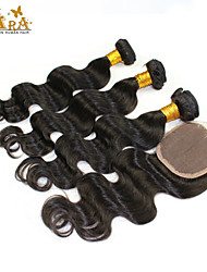 """10""""-26"""" Brazilian Virgin Hair Body Wave Human Hair Weft With Lace Closure Color Natural Black Baby Hair for Black Women"""