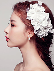 Korean Style Pearl Lace Flower for Wedding Headpiece Haircomb
