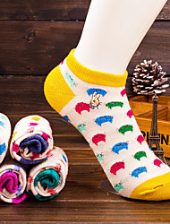 Women's Cute Cat Pattern 100% Cotton Thin Boat Socks (Random Color)