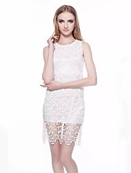 Women's Hollow Out Sleeveless White Summer Dress