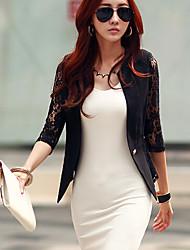 Women's Vintage Casual Work Medium Sleeve Regular Blazer (Lace Cotton)