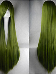Hot Sale 40 Inches High Temperature Fiber Long Straight Cyan Cosplay Costume Wig Side Bang