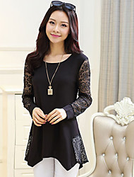 Women's Round Neck Dress , Lace Asymmetrical Long Sleeve