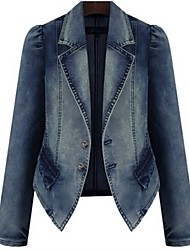 Women's Casual Denim Lapel Long Sleeve Jacket Outwear Plus Sizes