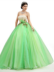 Formal Evening Dress - Lime Green Petite Ball Gown Strapless Floor-length Lace / Organza / Tulle / Charmeuse