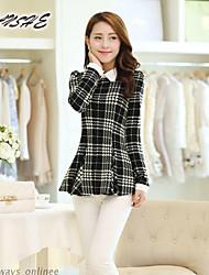 BAOTU@Women's Vintage/Sexy/Casual/Cute Micro-elastic Long Sleeve Regular Shirt