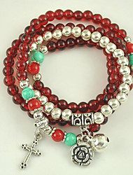 Women's New Bracelet of Arrival Synthetic Garnet Stone and Tibetan Silver Multilayer