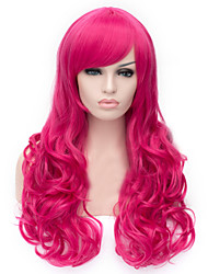 European and American Fashion Rose Red  Curly Hair Wig