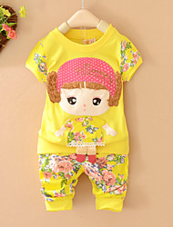 Girl's Round Collar Print Clothing Sets