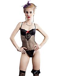 I-Glam Women's Underwear Sexy Mesh Lingerie Night Wear Teddy One Piece Bustier Bra with Stocking Black