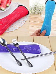 Set of 3 Travel Camping Spoon Fork Chopsticks Set with Storage Bag (Random Color) 20*7*3 cm