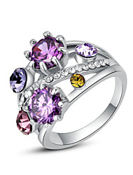 HKTC Stylish 18k White Gold Plated Shining Austria Crystal Multi-colour Simulated Diamond Roma Ring