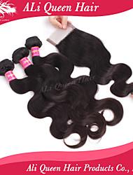 Ali Queen Hair Products 3Pcs 6A Brazilian Virgin Hair body Wave Wifh 1Pcs 4*4 Swiss Lace Closures 100% human hair