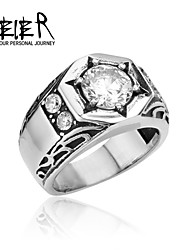 316L Stainless Steel Crystal Men's White Stone Wedding Ring High Quality Us Size