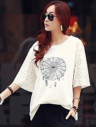 Camisetas ( Algodón )- Casual Redondo ½ Longitud de manga para Mujer