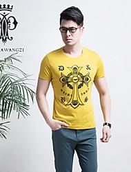 YINHUAWANGZI®Men's Print Exempt Iron Tees Elastic/Casual/Slim/Round-neck Short Sleeves Tees